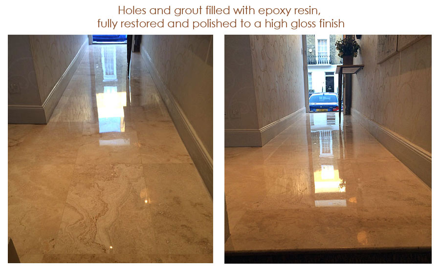 Holes and grout filled with epoxy resin, 